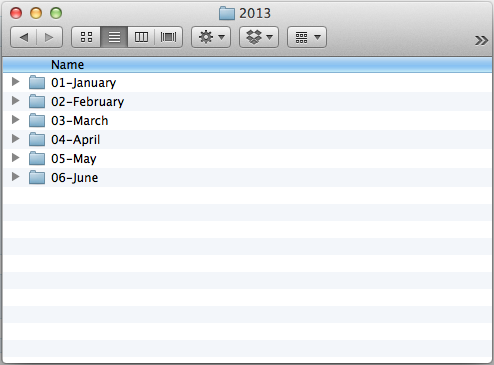 monthly folders in 2013