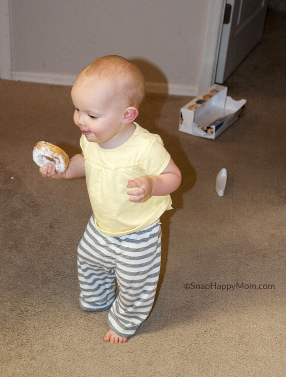 baby steals a donut