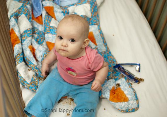 baby steals a granola bar