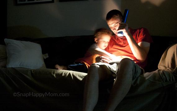Reading by flashlight