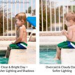 lighting comparison for swim lesson photography