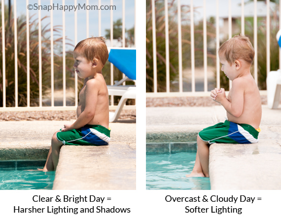 lighting comparison for swim lesson photography