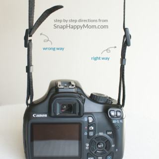 How to put on a camera strap, from SnapHappyMom.com