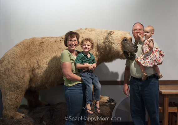 family with polar bear