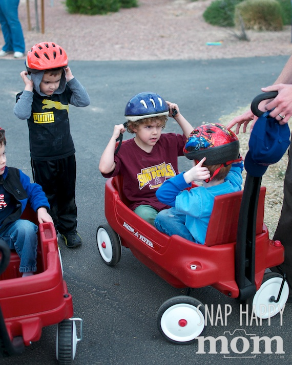 Olympics Birthday Party from SnapHappyMom.com - Bobsledding with Wagons for the Winter Olympics