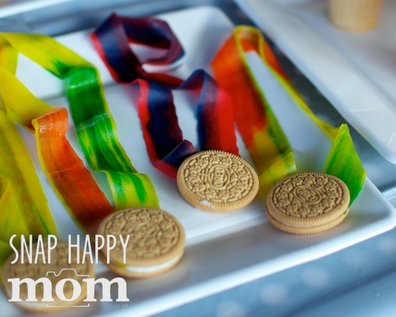 Olympics Birthday Party from SnapHappyMom.com - Fruit by the Foot Medals