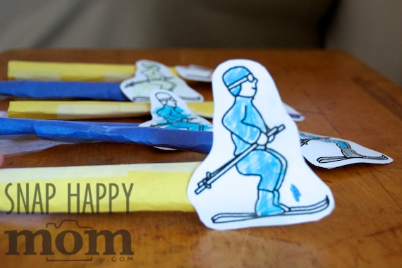 Olympics Birthday Party from SnapHappyMom.com - Ski Jumping with Straws for the Winter Olympics