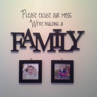 """Please Excuse Our Mess - We're building a family."" from SnapHappyMom.com"