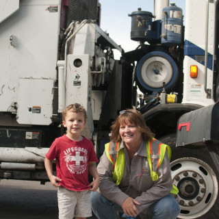 Meeting the garbage truck driver