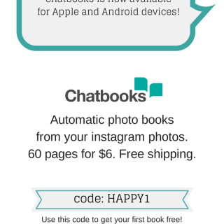 "Chatbooks - Automatic books from your instagram photos. $6 each, shipped to your door. Use code ""HAPPY1"" to get your first book free!"