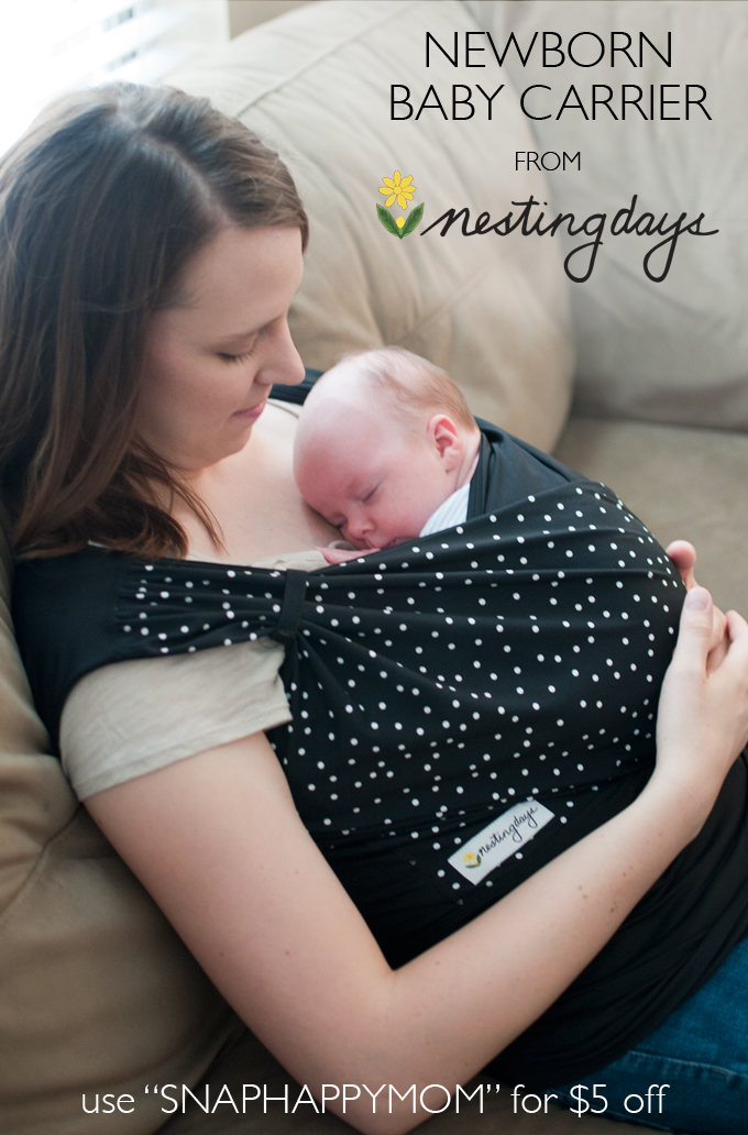 "Nesting Days Newborn Baby Carrier Review - SnapHappyMom.com - Use ""SNAPHAPPYMOM"" for $5 off"