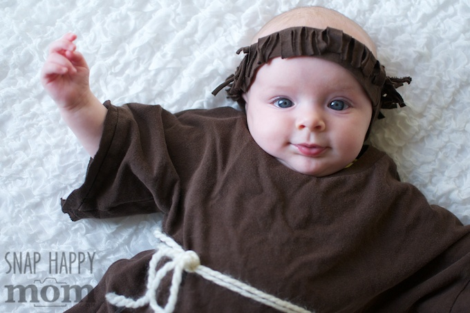 Robin Hood Family Costumes - a simple Friar Tuck costume for a baby - SnapHappyMom.com