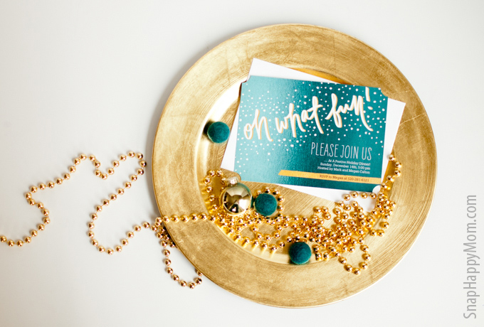 Finding The Perfect Gold Holiday Invitation - SnapHappyMom.com
