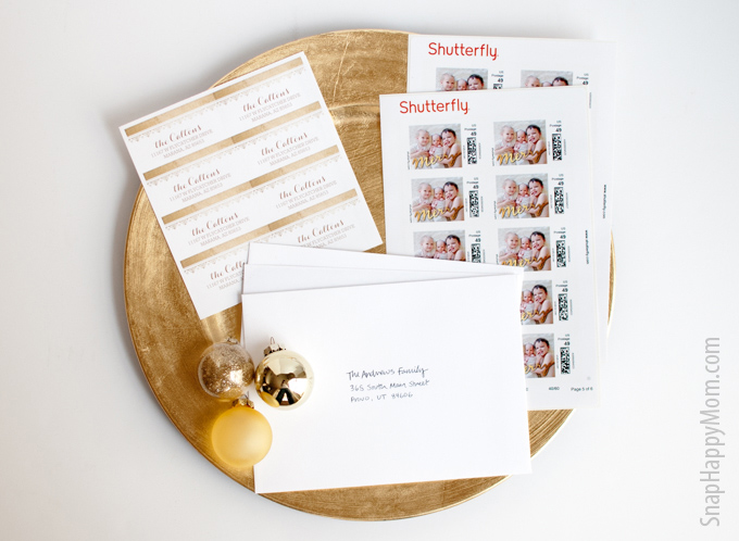Finding The Perfect Gold Foil Holiday Card - SnapHappyMom.com - Shutterfly makes card sending easy with matching address labels and personalized postage.