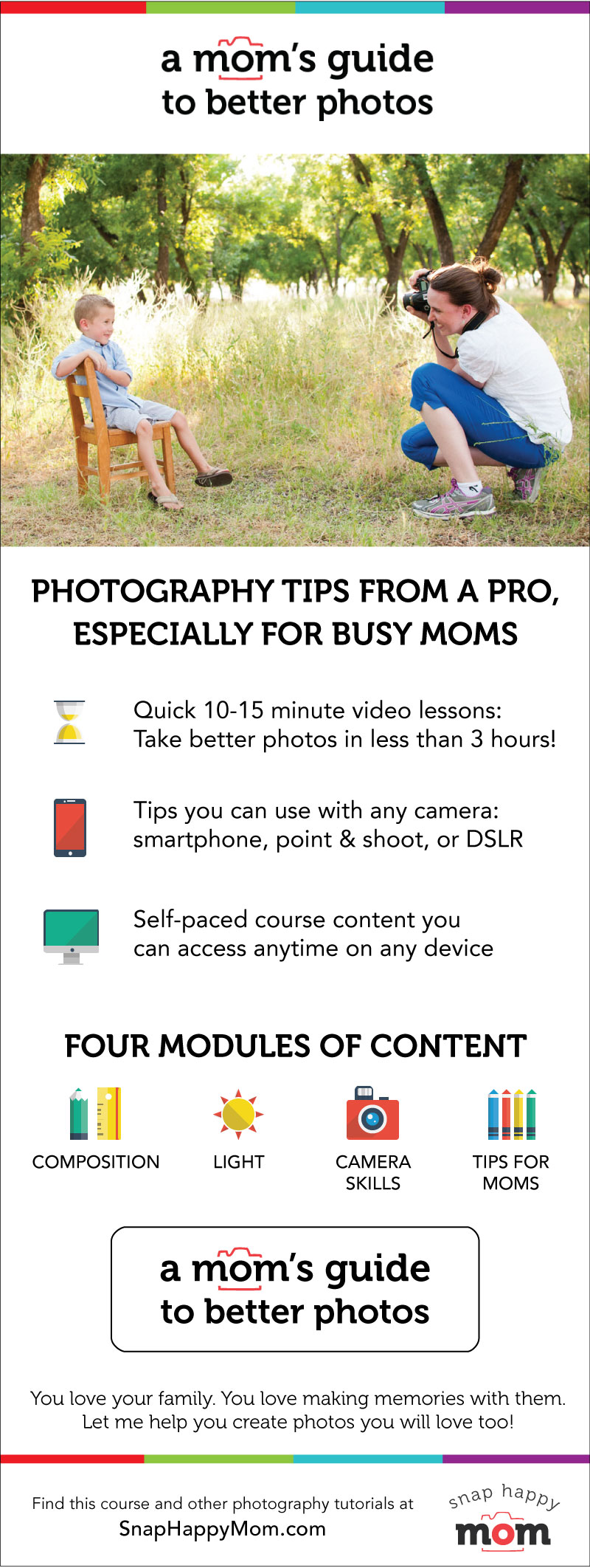 Mom's Guide To Better Photos - a course by SnapHappyMom.com