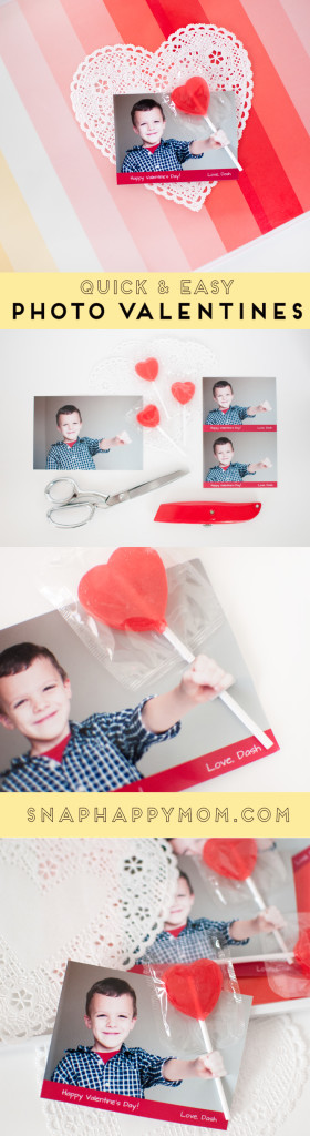 3-D Lollipop Photo Valentines - Three tips for how to take the perfect photo for 3-D Lollipop Valentines, and a DIY tutorial for how to assemble them! From SnapHappyMom.com