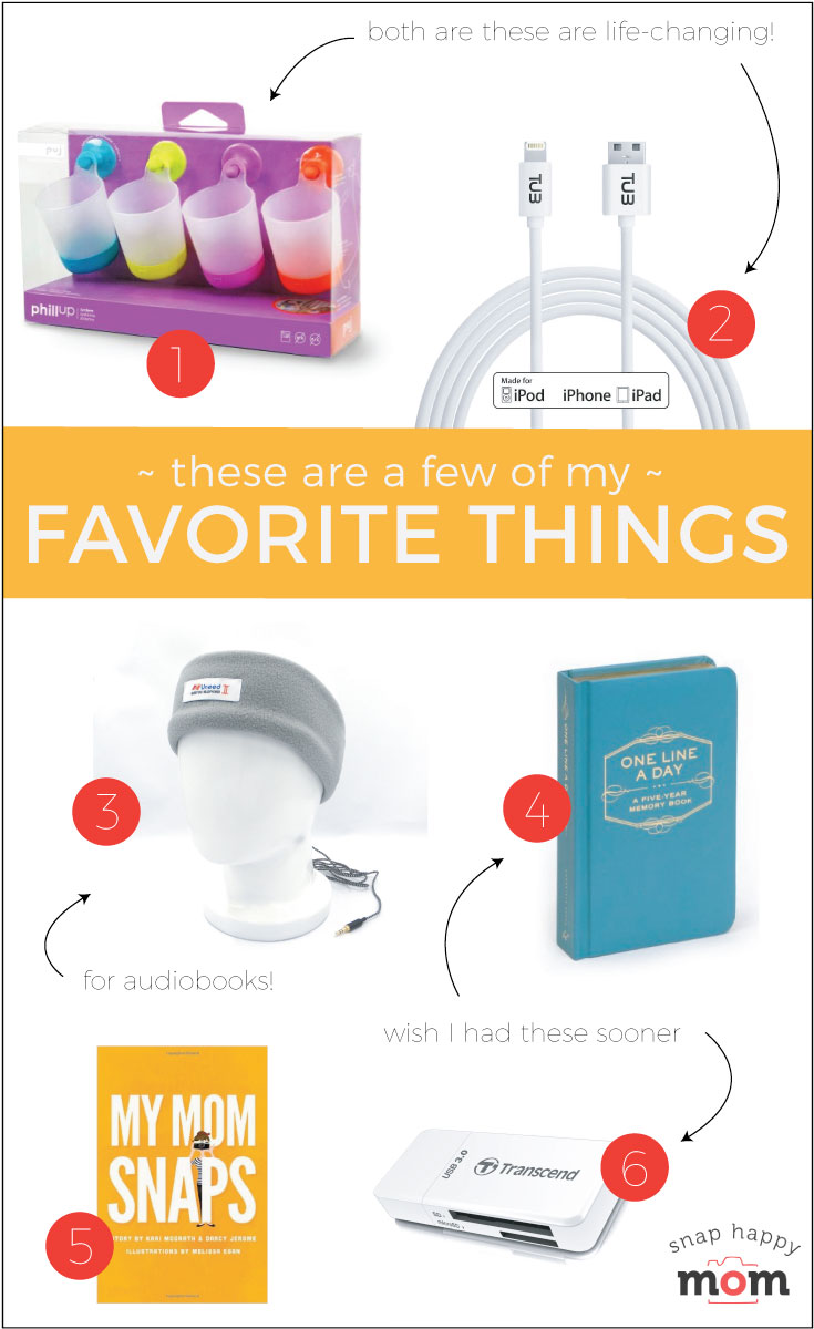 These are a few of my favorite things - hangable cups, super long iPhone cords, and journaling for busy moms. - SnapHappyMom.com