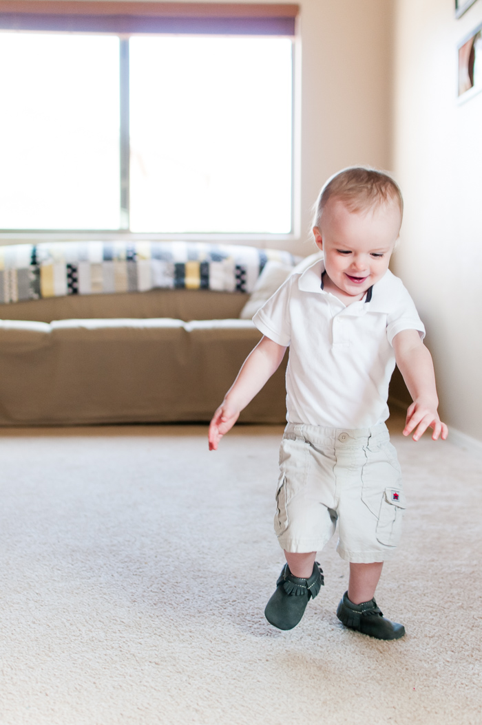Learning How To Walk With Freshly Picked Moccasins - 20 month pictures to celebrate (finally) learning how to walk! - Snap Happy Mom