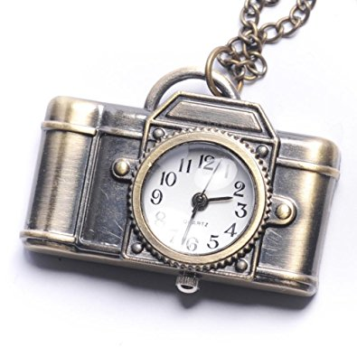 Camera Necklace with Clock - Photographer Gifts