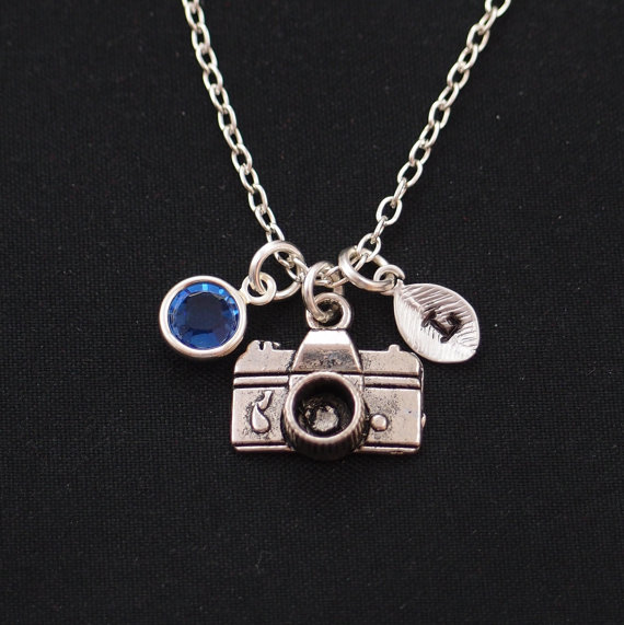 Birthstone and Initial Necklace - Photographer Gifts