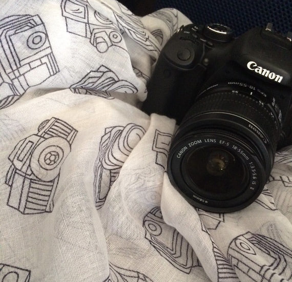 Black and White Camera Scarf - Gifts for Photographers