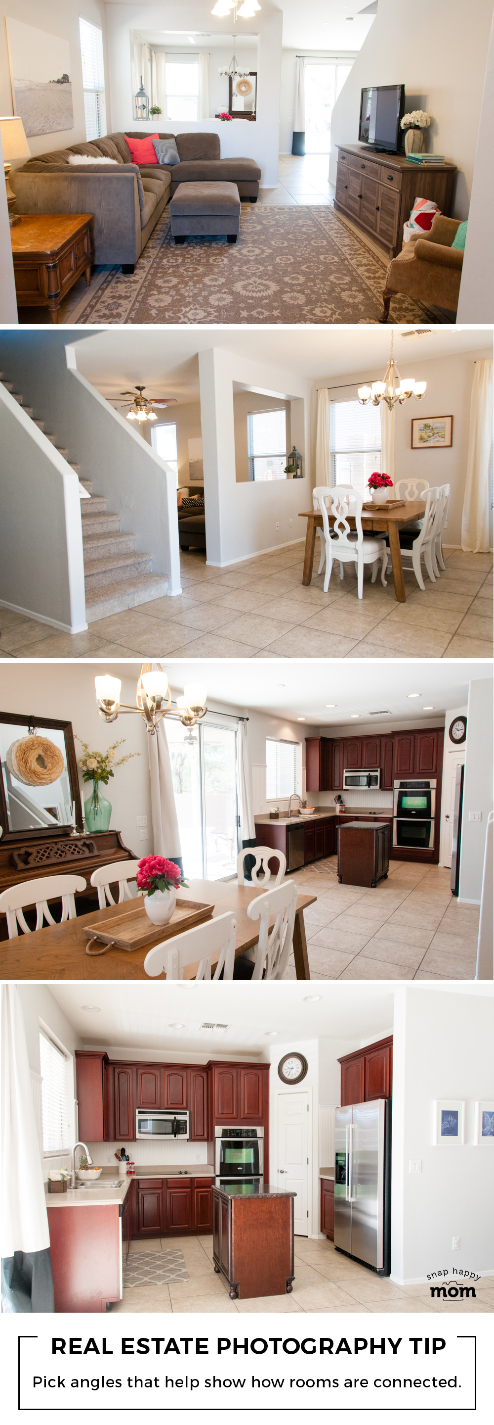 Real Estate Photography Tip: Use good angles and composition to help show how the rooms are connected.