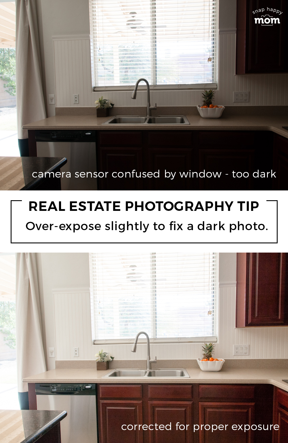 Real Estate Photography Tip: Over expose slightly to fix a dark photo.