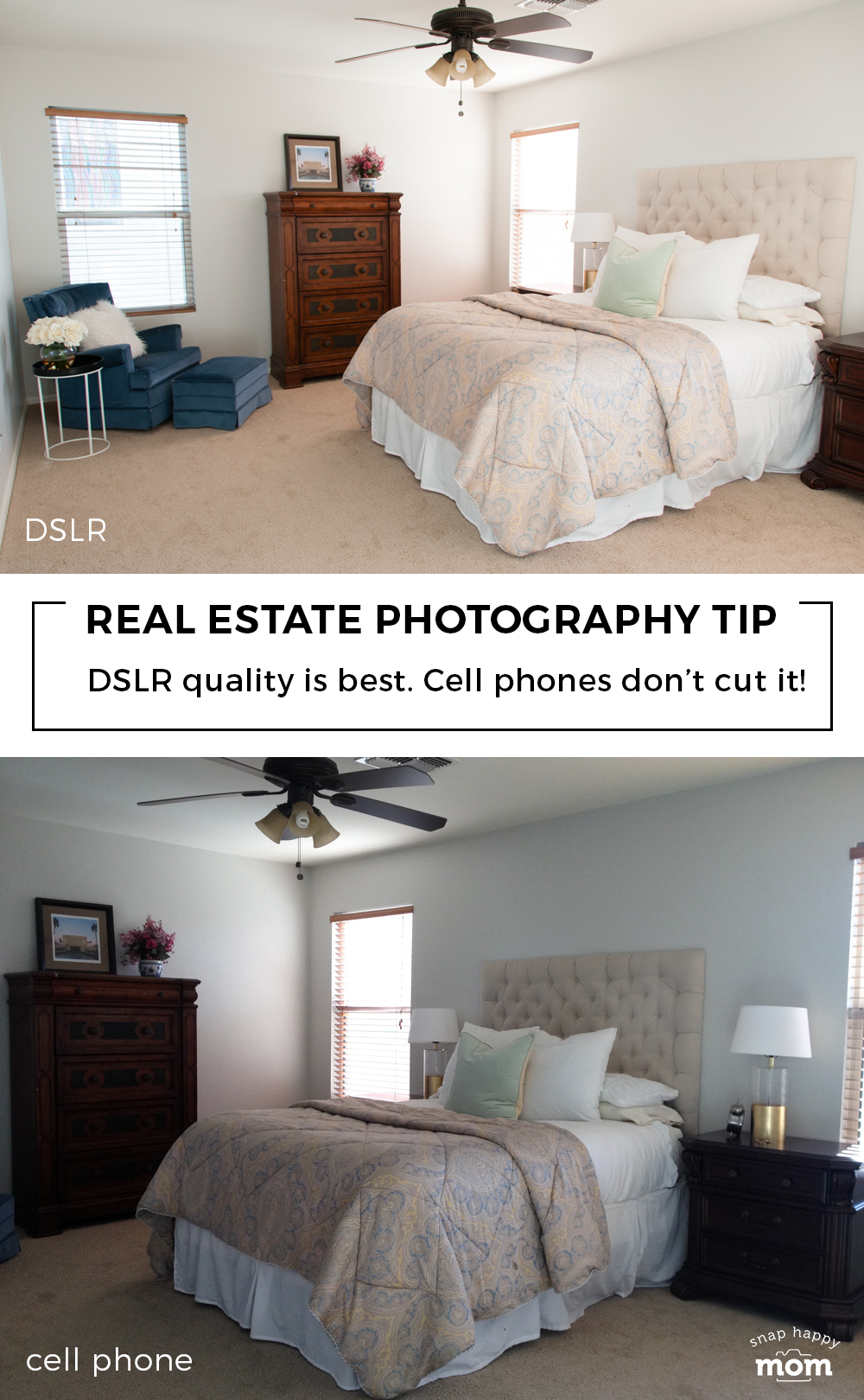 Real Estate Photography Tip: Use a DSLR for the best quality. Cell phone snaps don't cut it!