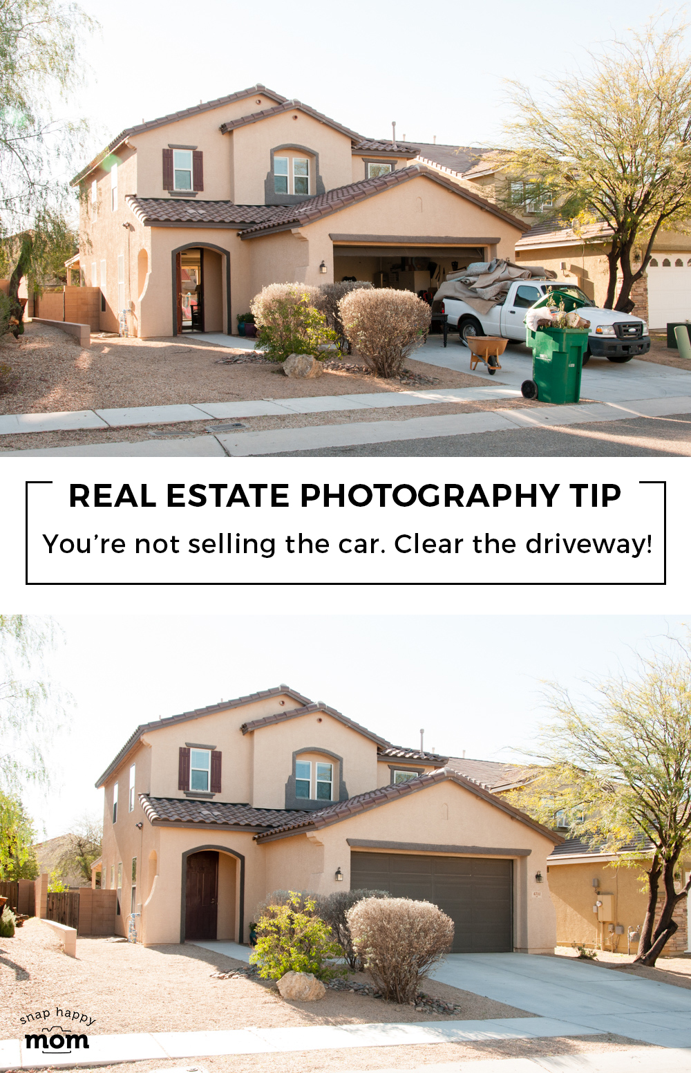 Real Estate Photography Tip: You're not selling the car. Clear the driveway!