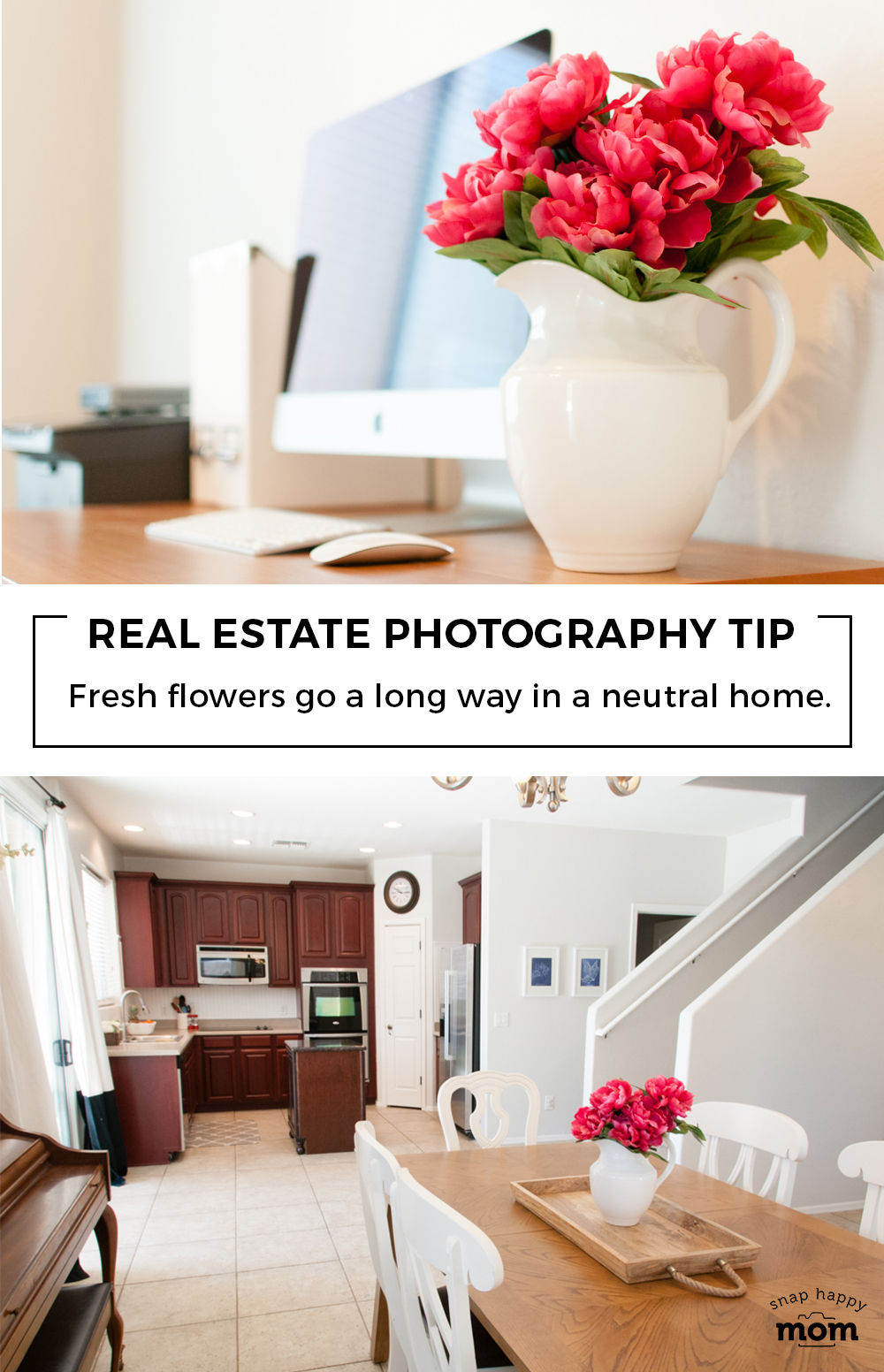Real Estate Photography: Fresh flowers go a long way in a neutral home.
