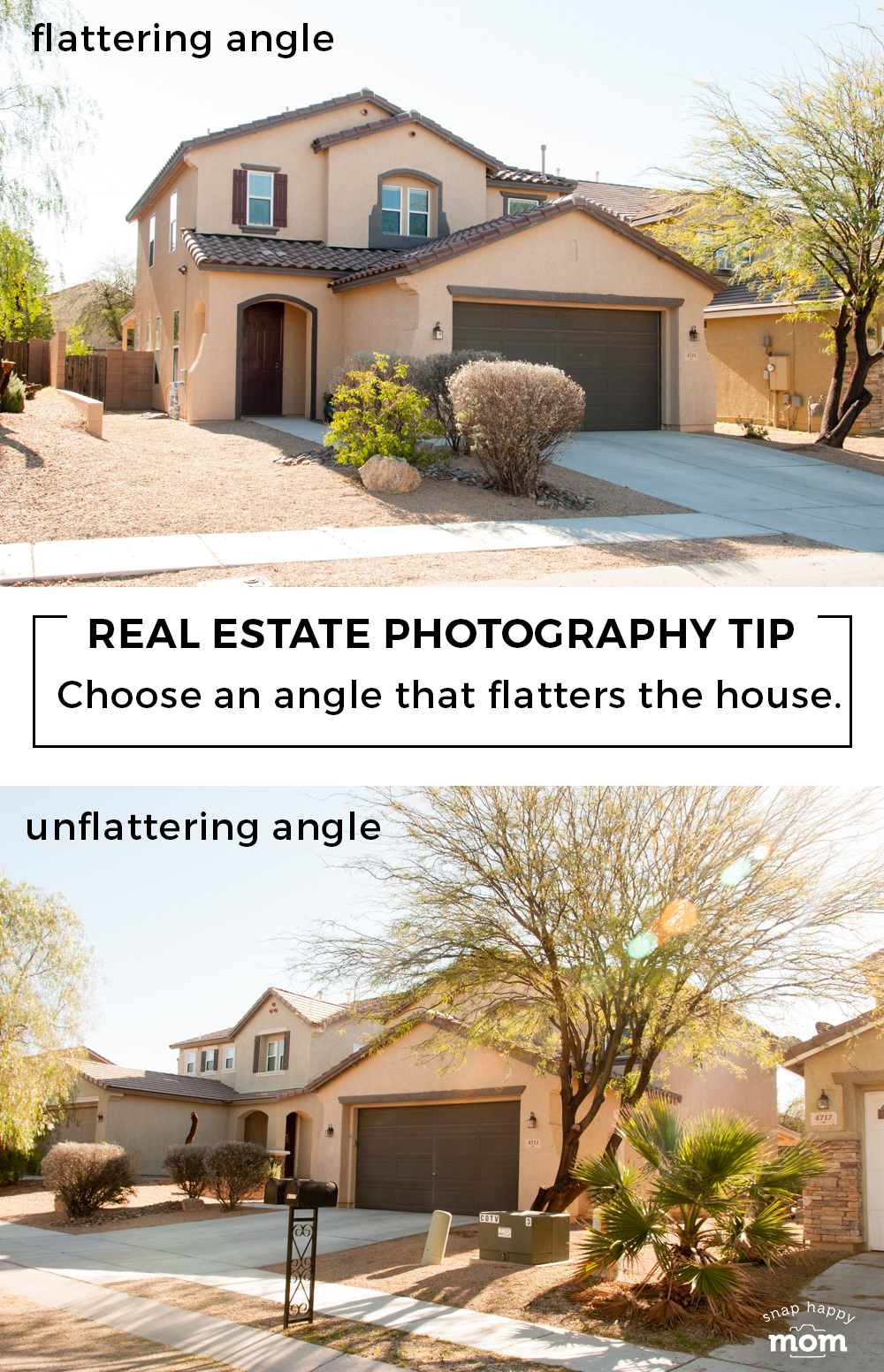 Tips for taking your own real estate photos: Choose an angle that flatters the house