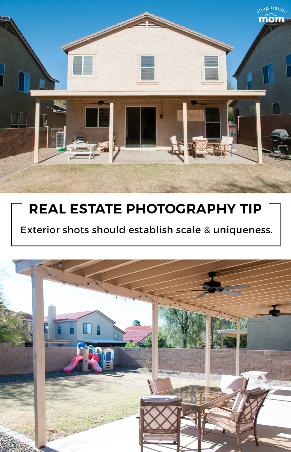 Tips for taking your own real estate photos: Exterior shots are meant to establish scale and emphasis unique architectural elements or landscaping.