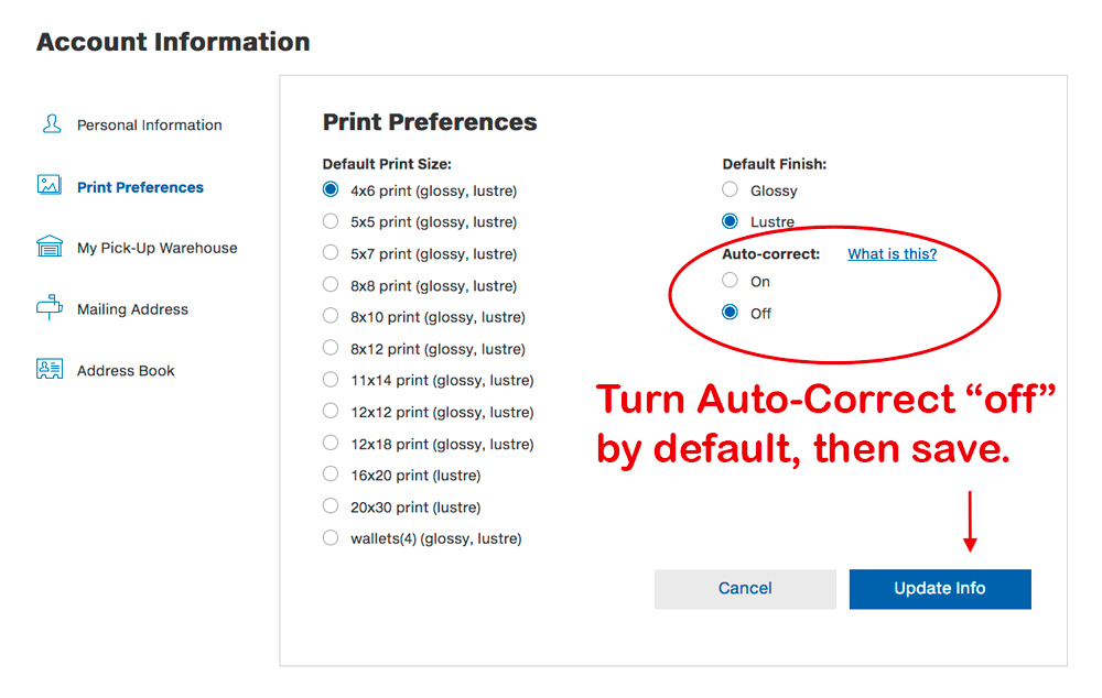 Costco Print Sizes >> How To Get Better Prints From Costco How To Turn Off Autocorrect